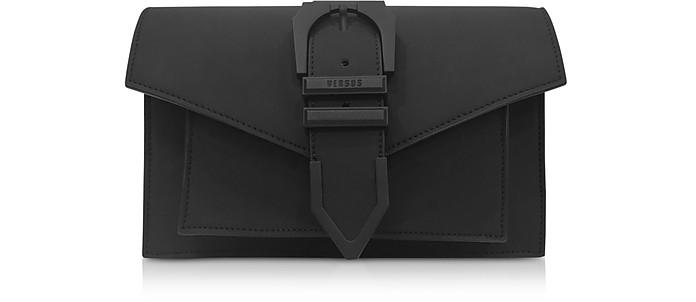 Iconic Buckle Schultertasche aus gummiertem Leder in schwarz - Versace Versus