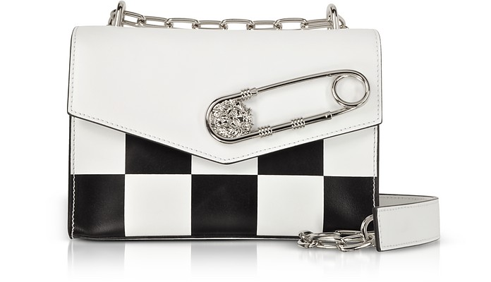 3246e19aa7 Optic White Black Checkerboard Print Leather Shoulder Bag w Safety Pin -  Versace Versus