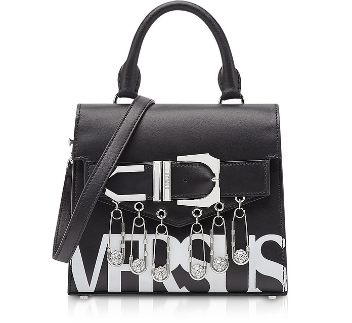 4190c5bfb114 Black Optic White Leather Versus Vintage Logo Iconic Satchel Bag w Buckle  and Safety