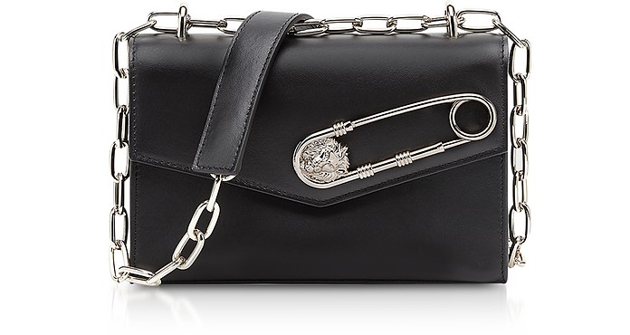 f49f6d743bb1 Versace Versus Black Leather Shoulder Bag w Safety Pin at FORZIERI