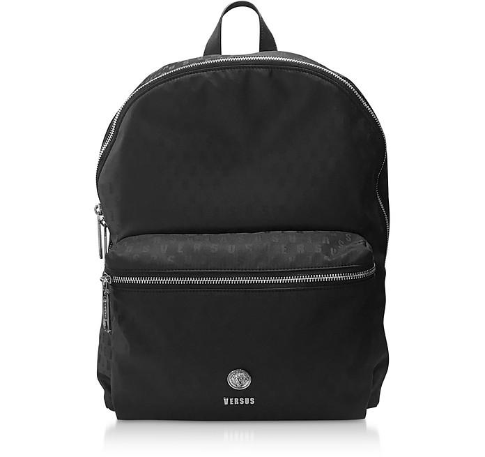Black Signature Printed Nylon Backpack - Versace Versus