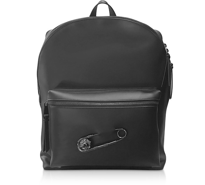 Black Gummy Calf Leather Backpack - Versace Versus