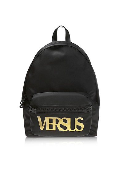 Black Nylon and Smooth Leather Backpack - Versace Versus