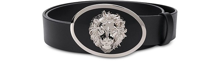 Black Matte Leather Oval Lion Head Men's Belt - Versace Versus