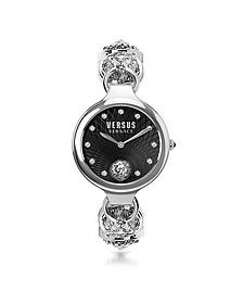 Broadwood Silver Stainless Steel Women's Bracelet Watch w/Black Dial and Crystals - Versace Versus