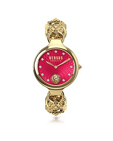 Broadwood Gold Tone Stainless Steel Women's Bracelet Watch w/Red Dial and Crystals - Versace Versus