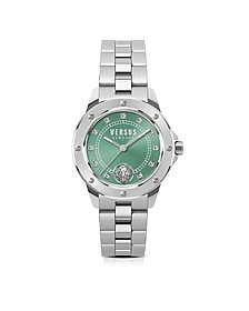 South Horizons Silver Stainless Steel Women's Bracelet Watch w/Green Dial and Crystals - Versace Versus