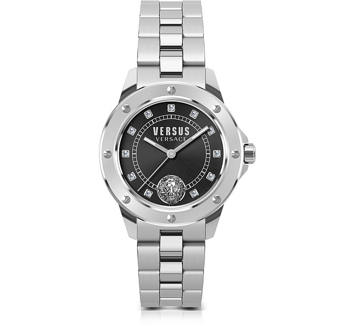 South Horizons Silver Stainless Steel Women's Bracelet Watch w/Black Dial and Crystals - Versace Versus