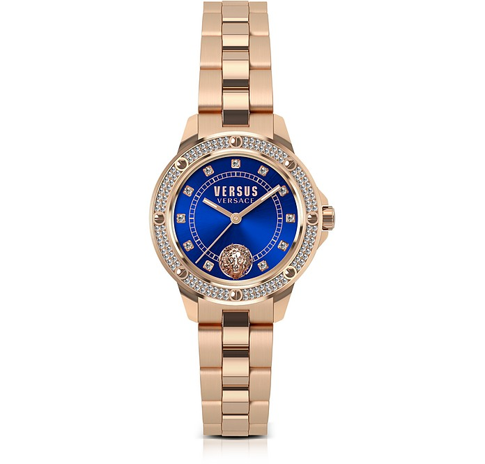 fe63ab1139 South Horizons Rose Gold Tone Crystal Stainless Steel Women's Bracelet  Watch w/Blue Dial
