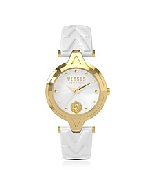 V Versus Gold Tone Stainless Steel Women's Watch w/White Leather Strap - Versace Versus