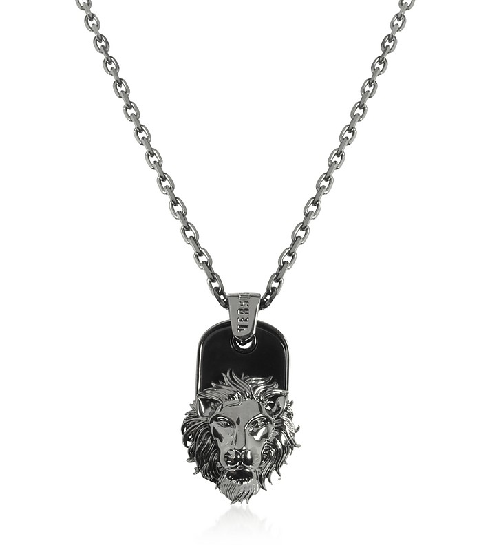 Black Enamel & Metal Necklace - Versace Versus