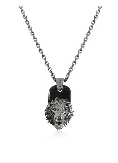 Black Enamel & Metal Lion Head Necklace - Versace Versus