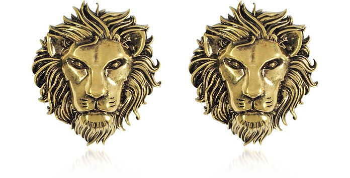 Golden Lion Head Earrings - Versace Versus