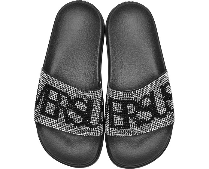 Black Crystals and Suede Slide Sandals - Versace Versus