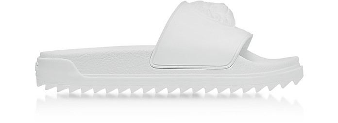 Lion Head Pure White Rubber Slide Sandals - Versace Versus
