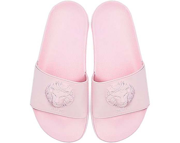 95183707 Lion Head Pink Rubber Women's Slide Sandals