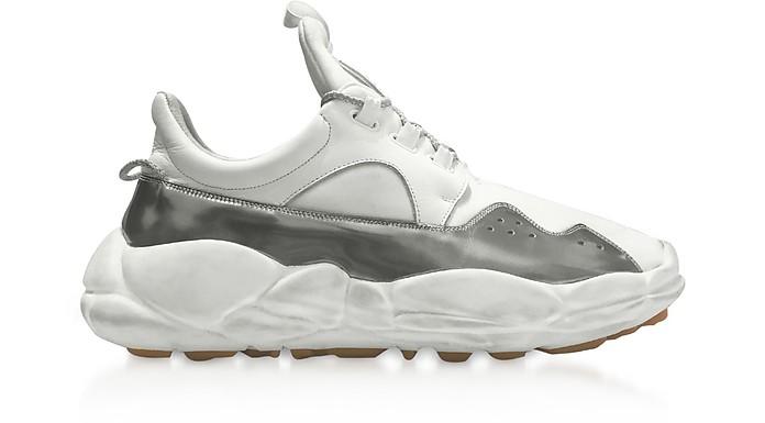 Anatomia Runner Optic White & Silver Neoprene and Suede Sport Women's Sneakers - Versace Versus