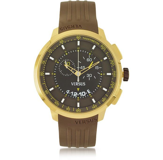 Manhattan Men's Chronograph Watch w/Brown Rubber Strap - Versace Versus