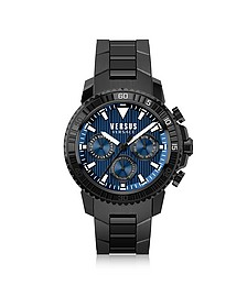 Aberdeen Black Stainless Steel Men's Chronograph Watch w/Blue Dial - Versace Versus