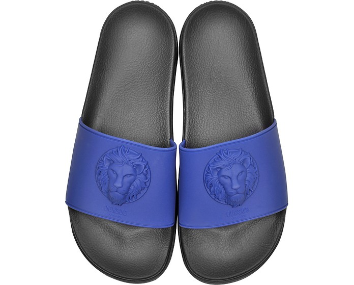 Lion Head Blue Rubber Slide Sandals - Versace Versus