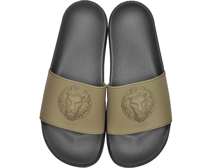 Lion Head Military Green Rubber Slide Sandals - Versace Versus