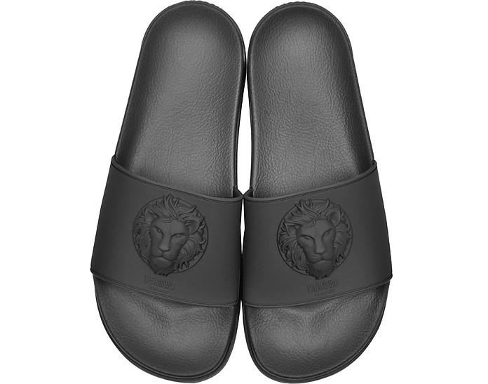 Lion Head Black Rubber Men's Slide Sandals - Versace Versus