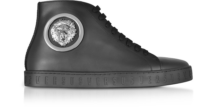 Black Leather High Top Sneakers - Versace Versus