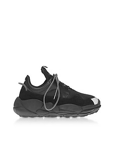 Black Neoprene and Suede Sport Sneakers