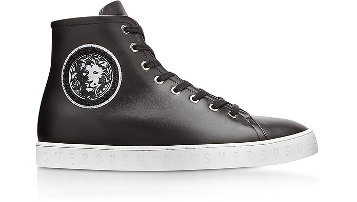 3489aa78f2fe Black Leather High Top Men's Sneakers w/Embroidered Lion Head Logo -  Versace Versus