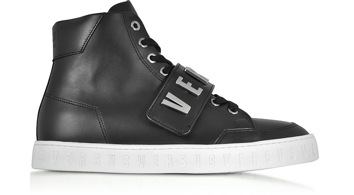 Black Metal Logo Band High Top Men's Sneakers - Versace Versus