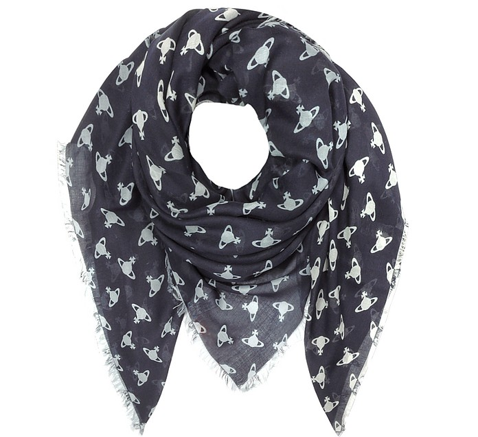 Navy Blue Absence of Orbs Woven Modal and Wool Wrap - Vivienne Westwood