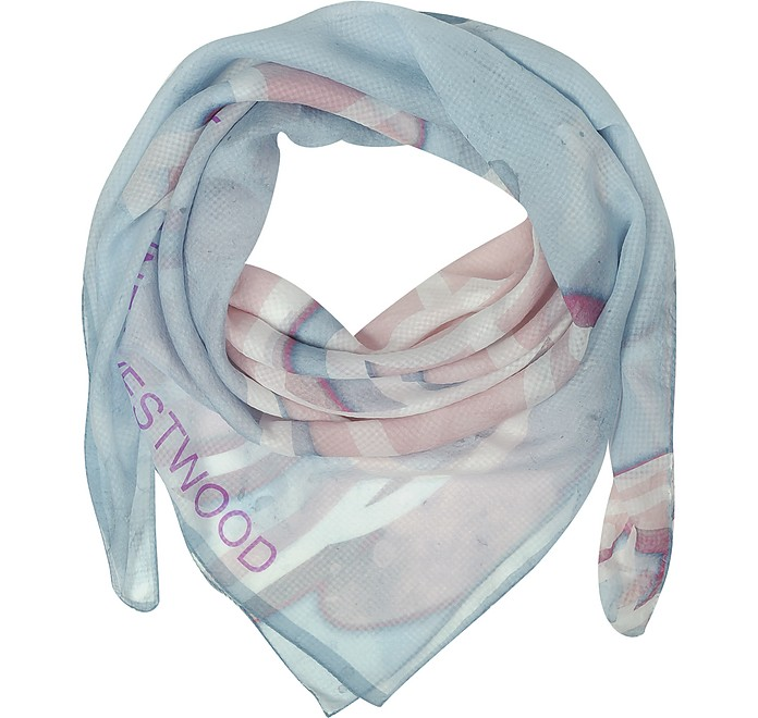 Light Blue & Pink Foul Flash Orbs Print Silk Wrap - Vivienne Westwood