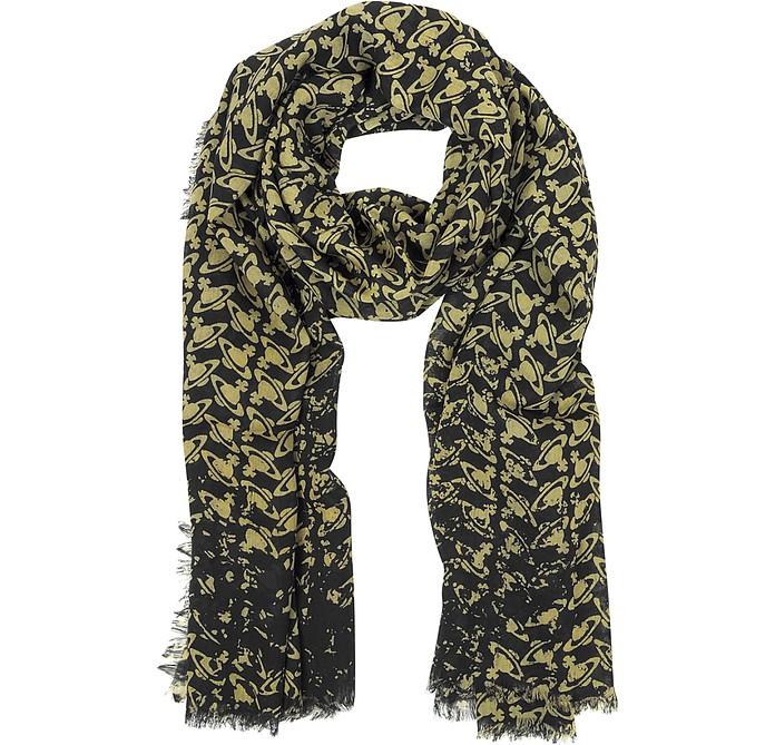 Black & Gold Logo Woven Wool Scarf - Vivienne Westwood