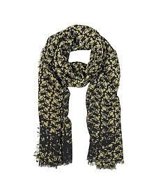 Black & Gold Logo Woven Wool Scarf