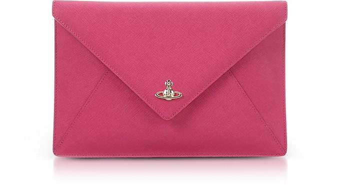 Envelope Clutch in Pelle Saffiano con Logo Orb Oro Vivienne Westwood Rosa Aghx5UEN