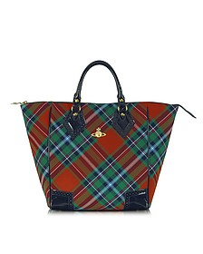 Classic Tartan Canvas and Eco Patent Leather Tote