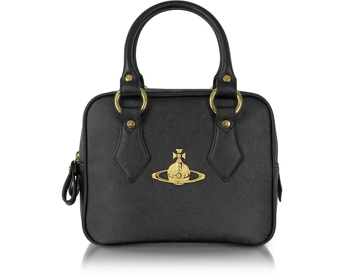 50fe3c9fac Vivienne Westwood Divina Black Saffiano Eco Leather Satchel at FORZIERI