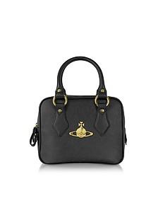 Divina Black Saffiano Eco Leather Satchel