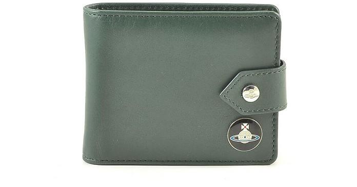 Dark Green Leather Men's Wallet w/snap - Vivienne Westwood / ヴィヴィアン ウエストウッド