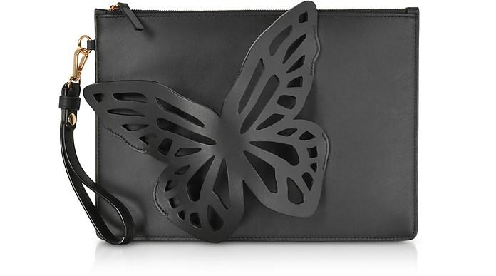Black Flossy Butterfly Pouchette - Sophia Webster