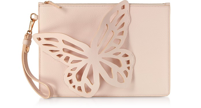 Sunkissed Pink Flossy Butterfly Pouchette - Sophia Webster