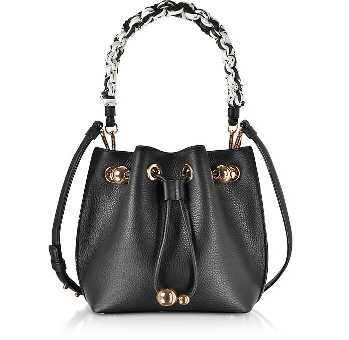 Black Leather Romy Mini Bucket Bag  - Sophia Webster