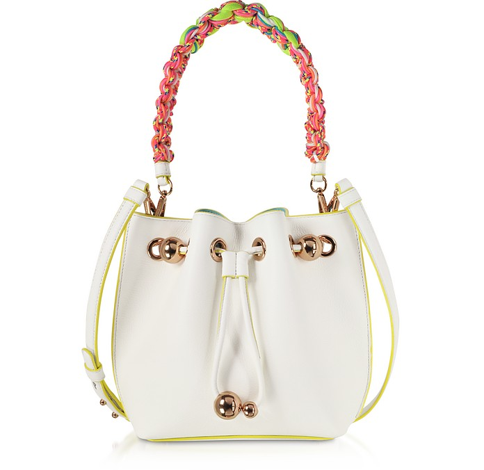 White & Yellow Leather Romy Mini Bucket Bag  - Sophia Webster