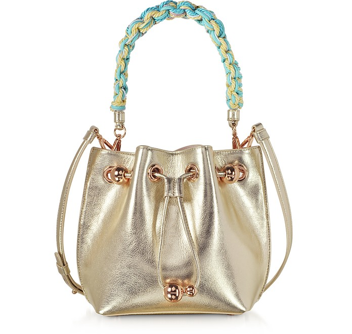Champagne Laminated Leather Romy Mini Bucket Bag  - Sophia Webster