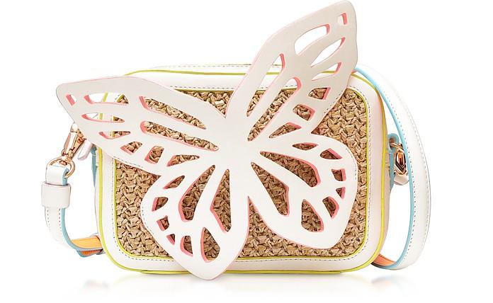 Flossy Butterfly Camera Bag in Pelle e Rafia - Sophia Webster