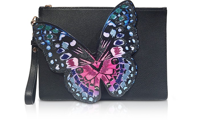 Black Flossy Embroidered Butterfly Pouchette  - Sophia Webster