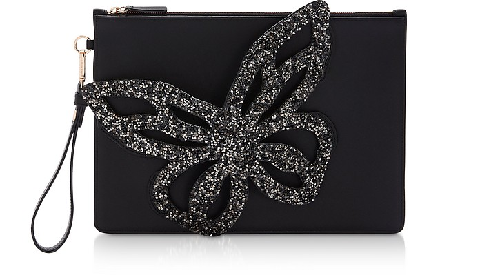 Black Flossy Butterfly Pouchette - Sophia Webster