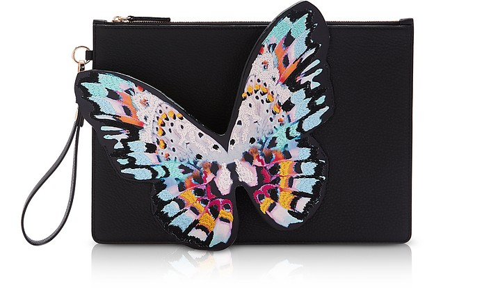 Black & Multi Flossy Butterfly Pouchette - Sophia Webster