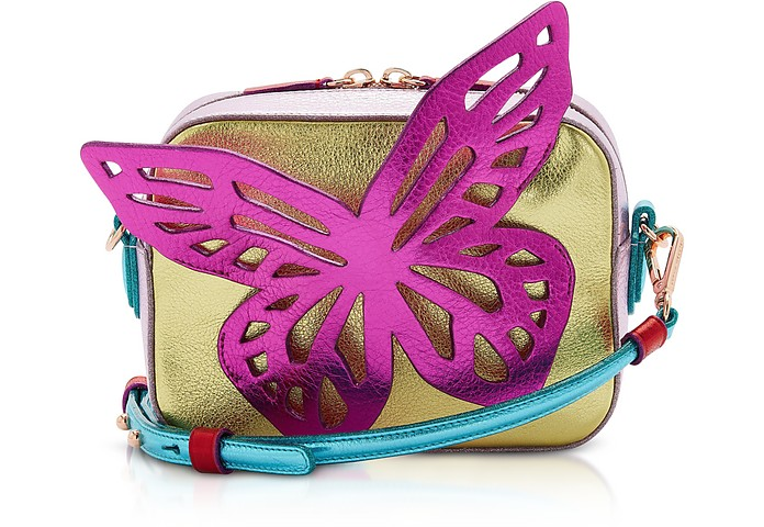 Multi Metallic Flossy Butterfly Camera Bag - Sophia Webster