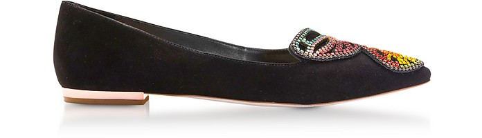 Black & Rainbow Bibi Butterfly Crystal Flat Ballerinas - Sophia Webster